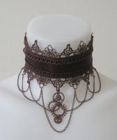 Our Lady of Lace Choker (brown) by LaMaupin