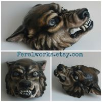 Werewolf with mismatched eyes by FeralWorks