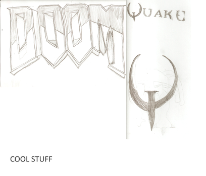 My Sketches of the Doom and Quake logos by DROP-THERAPY