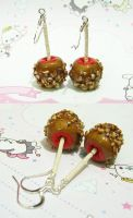 Red Caramel Apple EARRINGS by xlilbabydragonx