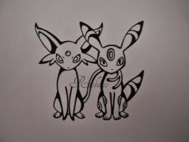 Espeon and Umbreon by Rioluess