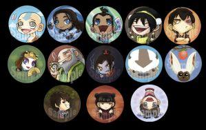 Avatar Button Set +3 new+ by perishing-twinkie