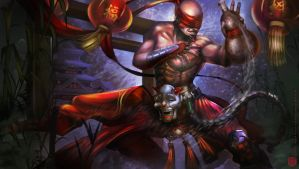 Drunken fist Lee Sin (Lunar revel skin) by Kashuse