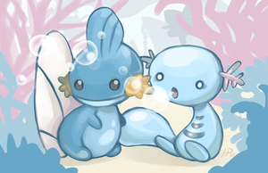 Mudkip and Wooper -blub blub- by IdentityPolution