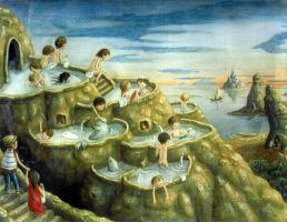 Terraced hot spring by perodog