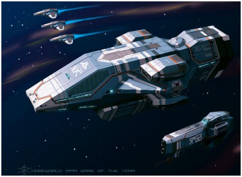 Kushan Heavy Cruiser of Homeworld1 [frameA] by 4-X-S