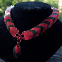 Red and Black Scalemaille Collar/Necklace by Ichi-Black