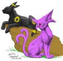 Umbreon and Espeon by saganet