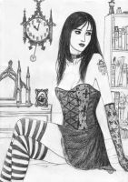 Goth Girl in Bedroom by dashinvaine