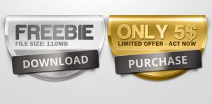 FREE PSD Badges by mrwooo