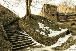 The stairs, the wall and the snow by wiwaldi24