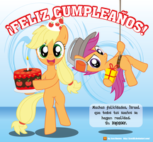 Applejack and Scootaloo - Birthday by JcosHooves