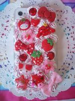 Strawberry iPhone 4 Decoden Case by lessthan3chrissy