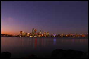 Perth skyline at dusk by dalecaldwell