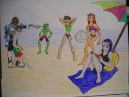 Teen Titans at the Beach by DarthJader11
