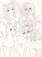 Fillyhood Friends (outline) by Aurora-ASB