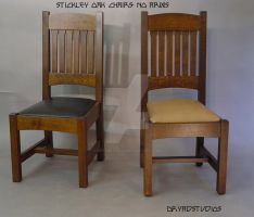 Stickley oak chairs-no arms by DryadStudios