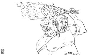 Ogre Magi Black And White Fan Art I made by LineDetail