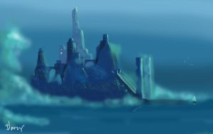 Blue ancient city thingy :) by charrendark