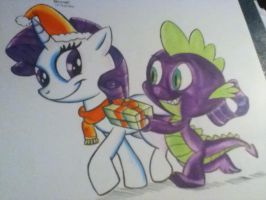 Rarity and spike happy holidays by megadrivesonic