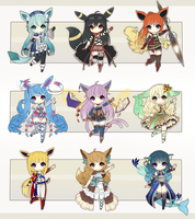 Eeveelution Adopt Batch - Set Price [CLOSED] by Oma-Chi