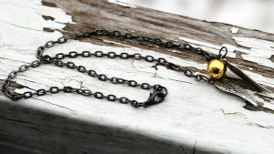 HP-Golden Snitch Necklace by kittykat01