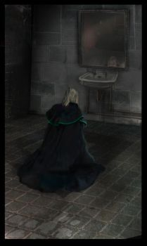 Draco crying (and some Harry in the mirror) by alverena