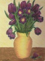 Purple Flowers in Yellow Vase by Dunn95