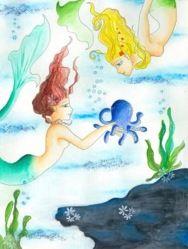 mermaids with octopus by fukosei