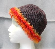 Cute womens purple crochet hat with red trimming by YANKA-arts-n-crafts