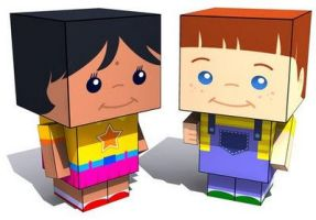 Boy and Girl 3d-toy by marciolcastro