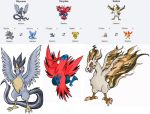 Pokemon Fusion Stickers Legendary Birds Set by feedapollyon