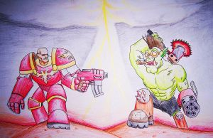 Space Marine vs. Ork by jfunk1991