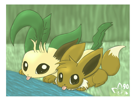 Leafeon and Eevee by pichu90