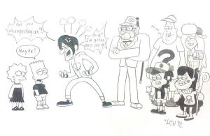 Bart And Lisa And the Deadly Six of Gravity Falls by komi114