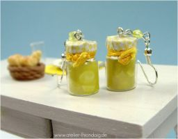 Lemon Marmelade Bottle Earrings by AlexandraKnickel