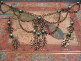 Leaves in the wind steampunk necklace by assassin-kitty