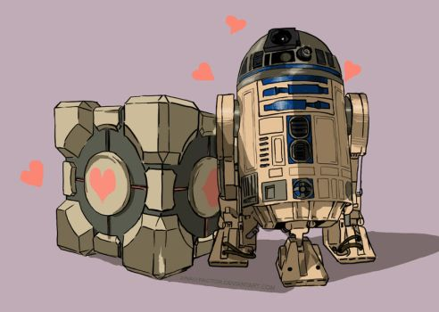R2D2 x Companion cube by z-nao-factor