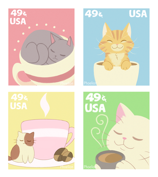 Tea Cat Stamps by Phoelion