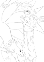 Daily Sketches 1- MunchingOrange w Fabby the Beast by FrostAether