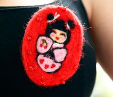 Kokeshi Doll Cherry Pin by Lethiel