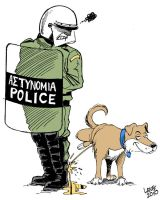 Greek riot dog by Latuff2