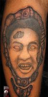 biomech horror face at schedel eye tattoo by Deepakshishodia