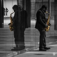 Yellow mirrored sax by sylvaincollet