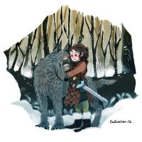 Arya and Nymeria by evelmiina