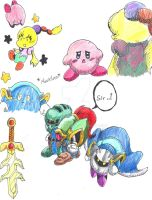 Kirby sketches3(inked and coloured) by NoxPapillo