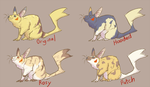Pikachu Variations by MoonlostArts