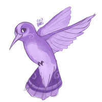 little purple bird. by xBadgerclaw
