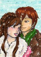 ACEO New Years Snuggle Kiku x Baekhyun by nickyflamingo