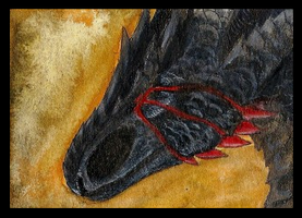 ACEO shar-vampire: Hell's Fire by LabradoriteWolf